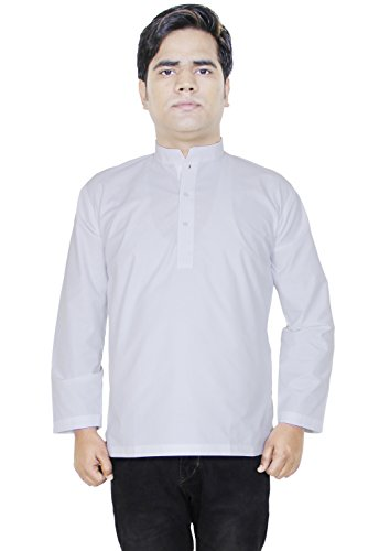 Retro Style Cotton Kurta Men Shirt Long Sleeve Stand Collar Yoga Dress-Size L (Mens Dress Up Outfits)