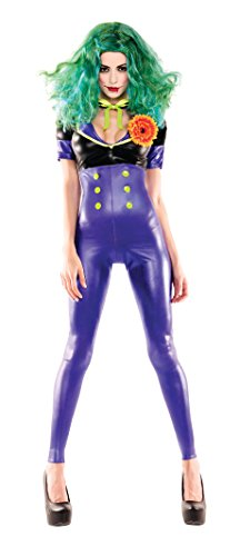 Party King Women's Comic Villainess Sexy 4 Piece Cosplay Costume Set, Purple, Medium -