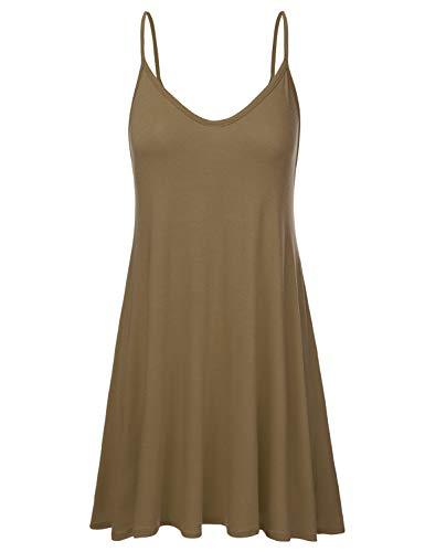 (NINEXIS Women's Basic Spaghetti Strap Cami Tank Tunic Dress Mocha M)