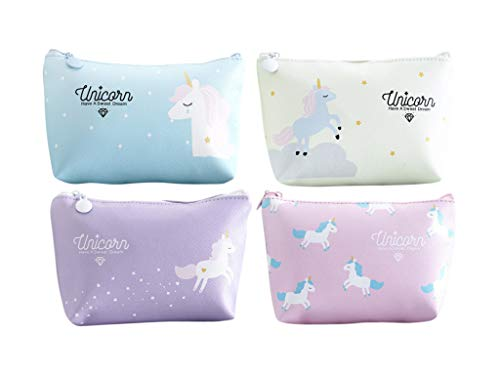 BellewithLove Unicorn Waterproof Makeup Bag Cosmetics Travel Toiletry Pouches Bag Set with zipper for School Students Girls Teens Kids - Set of 4