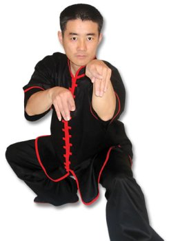 Black Kungfu Uniform with Red Interloop Top(top only)
