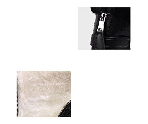 36 con moto moda Alla fibbia velluto donna lana stivali Martin agnelli Boot genuino e zip Snow cuoio cintura BpnqwnT1x