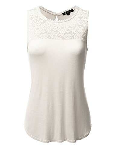 DRESSIS Women's Lace Front Tank Top IVORY L