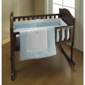 Blue Ric Rac Cradle Bedding - size:15x33 by Baby Doll