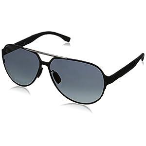 BOSS by Hugo Boss Men's B0669S Aviator Sunglasses, Matte Black Carbon & Gray Gradient, 63 mm
