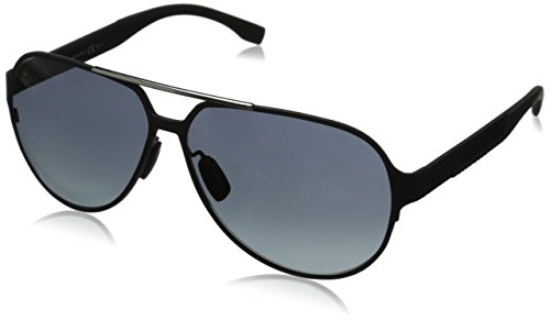BOSS by Hugo Boss Men's B0669S Aviator Sunglasses, Matte Black Carbon & Gray Gradient, 63 - Boss Sunglasses