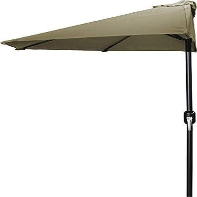 Jordan Manufacturing USH904L-KHAKI Half Umbrella, 9', Khaki : Garden & Outdoor