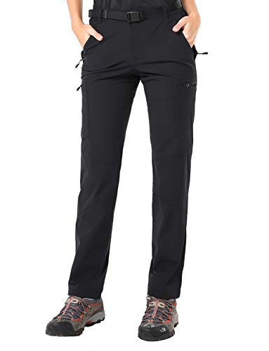 Womens Hiking Clothing Travel - MIER Women's Outdoor Hiking Travel Cargo Pants Lightweight Stretch Active Pants with 4 Zipper Pockets, Quick Dry, Black, L