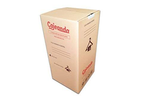 Pack de Cuatro (4) Cajas Armario de Cartón, Color Marrón y Canal Doble. Mudanzas. Guardarropa. Incluyen Cuatro Barras Perchero. Tamaño 50 x 50 x 101 cm.