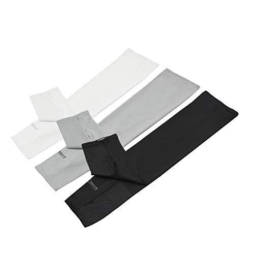 Arm Sleeves with Thumb Holes - Outdoor Sports Cooling Arm Sleeves UV Protection for Men, Women, Kids - Sun Block Cooler for Football, Running - Pack of 3 Pairs (Black, White, Gray)