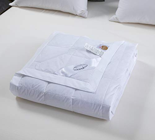 WarmKiss Summer Down Blanket Hypoallergenic 600 Fill Power Light Weight Duvet Insert, 400TC 100% Cotton Downproof Brushed Finished Shell (White,King,15OZ)