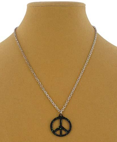 Pendant Necklace Black Green Splatter Paint Peace Sign Necklace For Women
