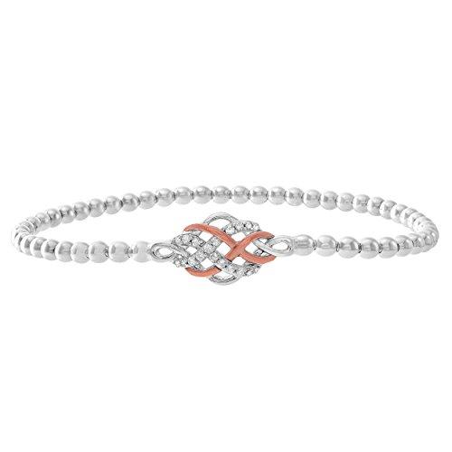 Brilliant Designers 10K Rose Gold & Sterling Silver 0.15 CTTW Diamond (IJ/I3) Interlocking Station Stretch Bead Bracelet (Diamond Gold Designer Bracelets)