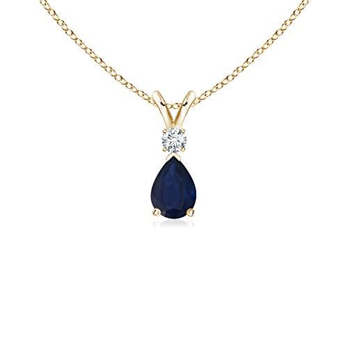 (Blue Sapphire Teardrop Pendant with Diamond in 14K Yellow Gold (6x4mm Blue Sapphire))