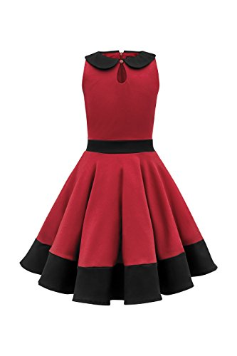 BlackButterfly Kids 'Zoey' Vintage Clarity 50's Girls Dress (Red, 11-12 YRS) -