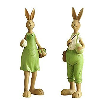 Miz Home 1 Pair Green Rabbit 30.5 cm Height Resin Home Decor Doll Gift for Friend Lowest Price Clearance