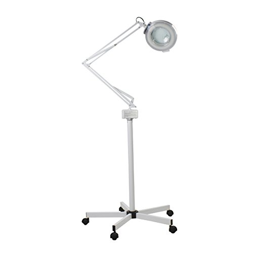 DERMALOGIC Magnifying Lamp Facial, Tattoo, Derma Lamp 5 Diopter w/8-diopter spot Rolling Stand Adjustable Mag Light by DERMALOGIC