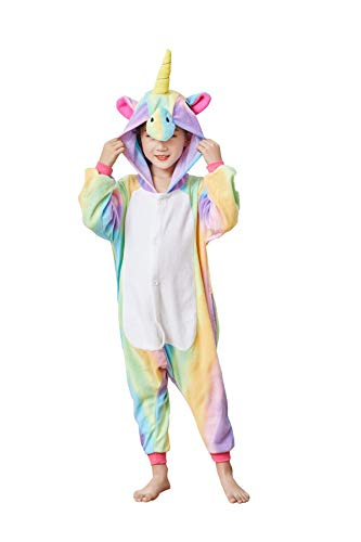Goldtry Unicorn Animal Onesie Cute Teens Halloween Cosplay Costumes Unisex Adult Pajamas (125#, Rainbow-Kids) -