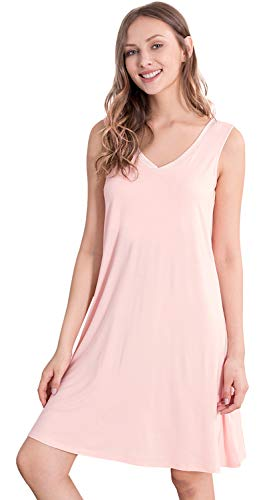 (WiWi Women's Bamboo Sleeveless Chemise Nightgowns S-4X, Pink, 3X-Large)