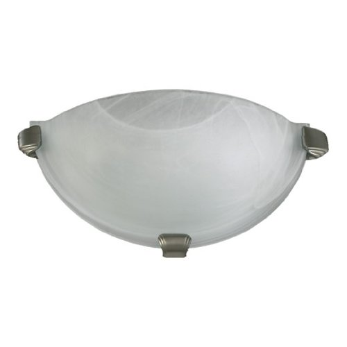 Quorum International 5629-65 1Light Wall Sconce with Faux Alabaster Glass, Satin Nickel Finish