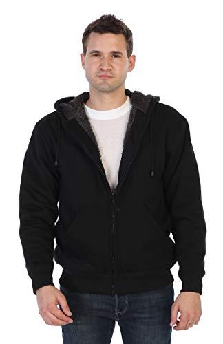 Gioberti Men and Women Sherpa Lined Fleece Hoodie Jacket, Black C, X Large