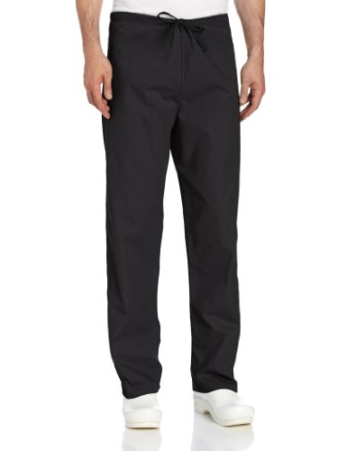 (Landau Unisex Reversible Drawstring Scrub Pants, Black, Large )