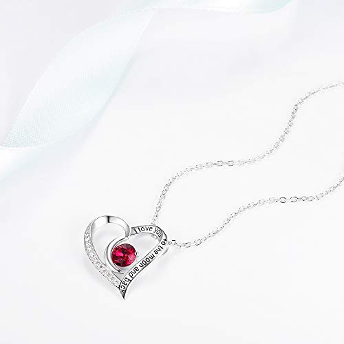 July Birthstone LC Red Ruby Necklace Fine Jewelry I Love You to the Moon and Back Birthday Anniversary Gifts for Women