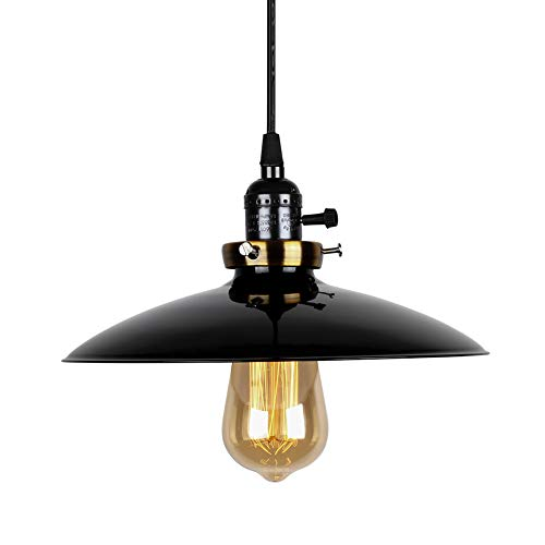 (T&A UFO Industrial Pendant Lights Edison Vintage Style,1 Light Kitchen Antique Brass Hanging Lighting Fixture(Black))