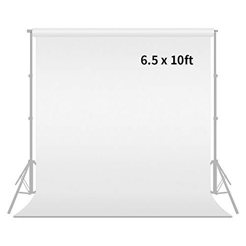 Photography Photo Studio Muslin Backdrop Background by MOUNTDOG 6.5x10 ft,White (Stand NOT Included) ()