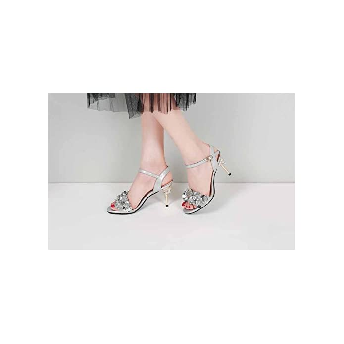 Shinik Sandali Open Toe Da Donna 2018 New Paillettes Decolletè Con Cinturino Alla Caviglia Decorato A Tacco Alto