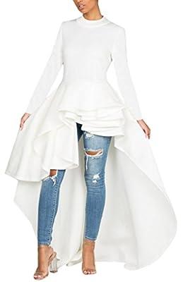 Kearia Women Ruffle High Low Asymmetrical Turtleneck Short Sleeves Tops Blouse Shirt Dress
