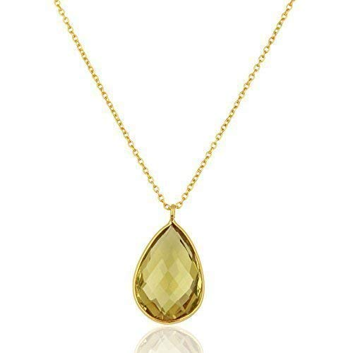 (Handmade Lemon Topaz Sterling Silver Drop Pendant Necklace)