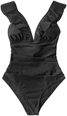 CUPSHE Donna Muschio Verde Increspato Lace up Costume Intero