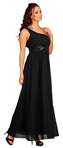 Fashion para mujer One de casa de diseño de larga vestido con diseño de lentejuelas y vestir para el hombro negro