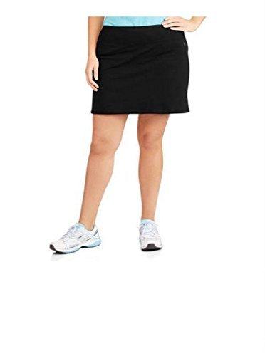 Skirt Danskin (Danskin Now Women's Plus Size Adjustable Waist Hidden Pocket Basic Knit Skort (3X Plus, Black))