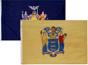 LuxMart 3x5 3'x5' Wholesale Combo Set State New York & New Jersey 2 Flags Flag