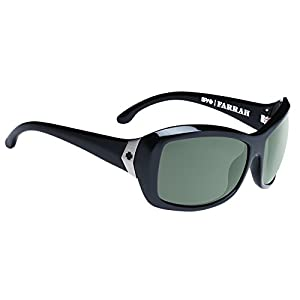 Spy Optic Farrah Flat Sunglasses,Black/Happy Gray/Green Polar,62 mm