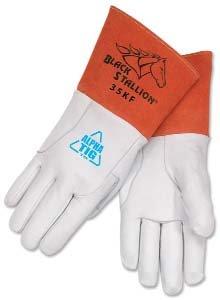 Premium Leather TIG Welding Gloves Medium Pair by Black Stallion