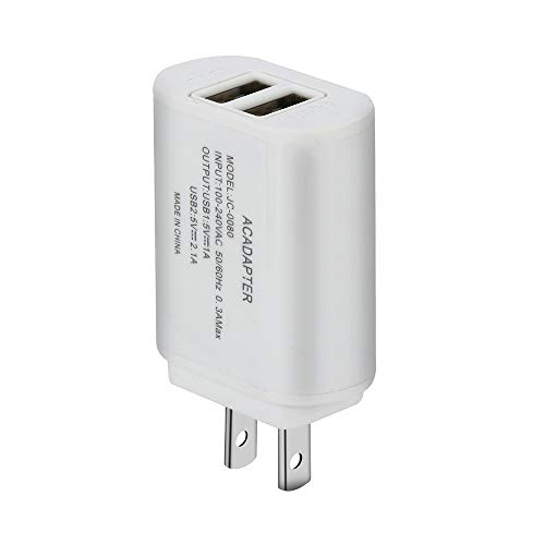 ❤️Ordee❤️ 5V / 2A Dual USB Charger Fast Charging for Samsung for iPhone Xs Max Tablet Universal Mobile Phone Wall Adapter US Plug (White)
