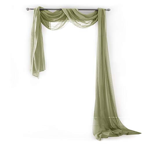 Semi Sheer Luxury Scarf Window Decor Modern Classic Outdoor Home Design Light Penetrating Provide Privacy Soft Durable Polyester add to Curtains Drapes (Scarf 54
