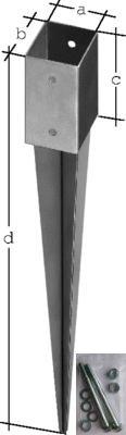 Befestigungsset Einschlagbodenh/ülse 9x9x90 cm inkl