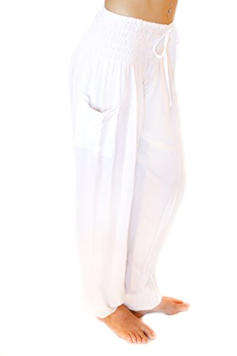 PIYOGA - Women's Boutique Lounge and Bohemian Yoga Pants, Scrunched Bottom (Stretches from US Size 0-12) - Kundalini White