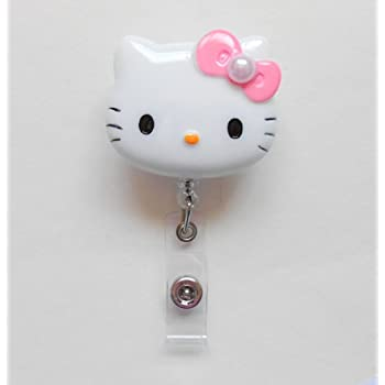"""1.9/"""" Retractable Reel ID Badge Holder/_Pink Flower Bow Black Hello Kitty 45mm"""