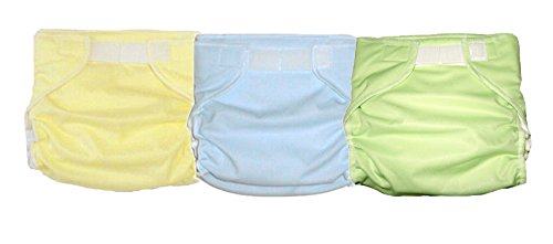 3 Kidalog Baby Love Fitted AIO Cloth Diapers - Mint, Light Blue, Light Yellow
