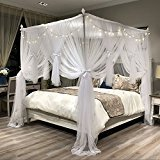 Buy Bargain Joyreap Mosquito Bed Canopy Net - Luxury Canopy netting - 4 Corners Post Bed Canopies- P...