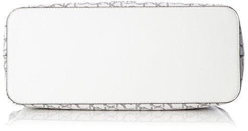 Calvin Klein TIN4 Mono Medium Tote, Sac Femme, Blanc (White Monogram), 16 X 25 X 33 cm