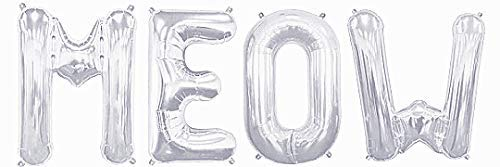 Giga Gud Balloon MEO Balloon for Cat Balloon for Party MEO-16″ Silver FOIL Letter Balloon Pack,Cats Birthday, Cats Birthday Theme, CAT Party,Cats Party
