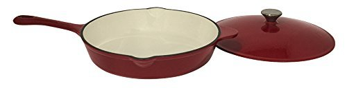 Useful UH-CI215 12 Inch Cast Iron Enamel Covered Skillet With Lid and Spout (Coated Cast Iron Skillet)