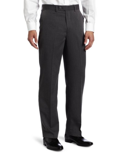 Louis Raphael Men's Poly Rayon Gabardine Flat Front Straight Fit Pant, Charcoal, - Pants Gabardine Leg Straight