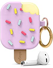 elago Ice Cream AirPods Case with Keychain Designed for Apple AirPods 1 & 2, Shockproof Protective Skin, Cute Accessories for Girls, Kids, Boys [US Patent Registered] (Blueberry)